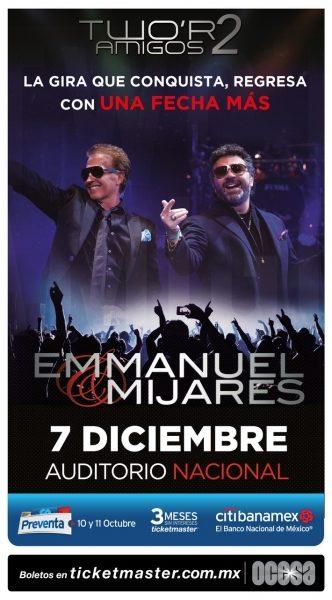 Emmanuel & Mijares harán otro Auditorio Nacional