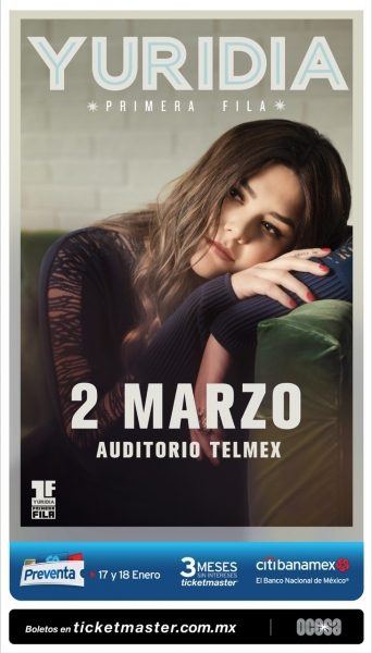 Yuridia regresa al Auditorio Telmex